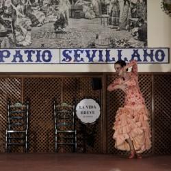 Ana María Bueno bailando para El Patio Sevillano